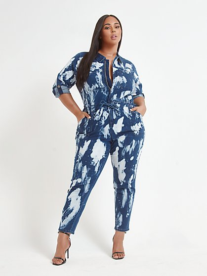 Plus Size Evie Tie Dye Denim Jumpsuit - Fashion To Figure