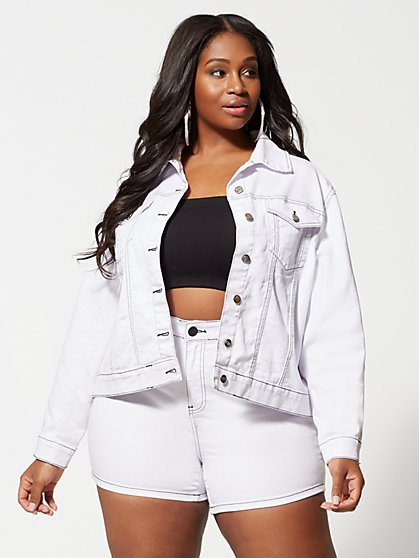 Plus Size Evonne White Jean Jacket - Fashion To Figure