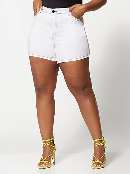 Plus Size Evonne White Jean Shorts - Fashion To Figure