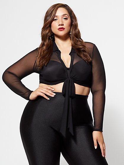 Plus Size Christina Mesh Crop Top - Fashion To Figure