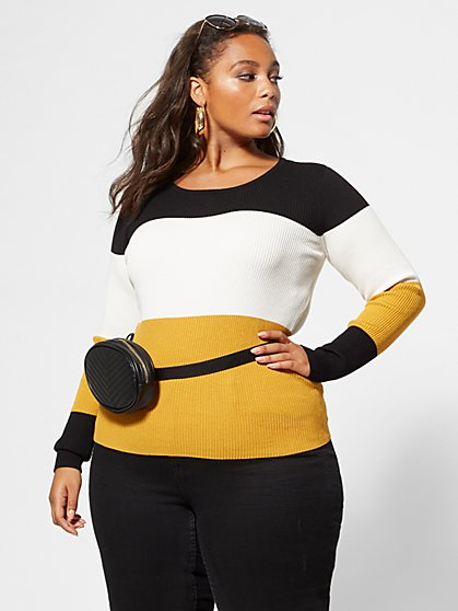Plus Size Dina Colorblock Sweater - Fashion To Figure