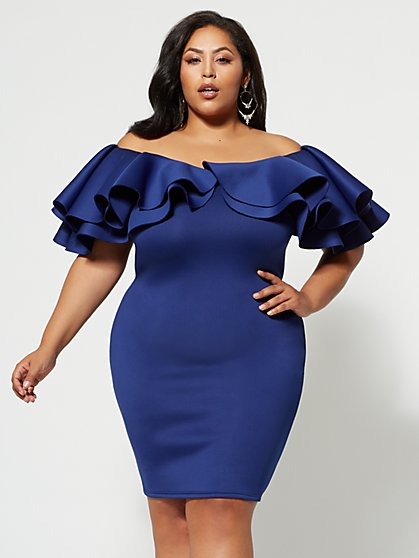 Plus Size Eve Drama Ruffle Bodycon Dress - Fashion To Figure