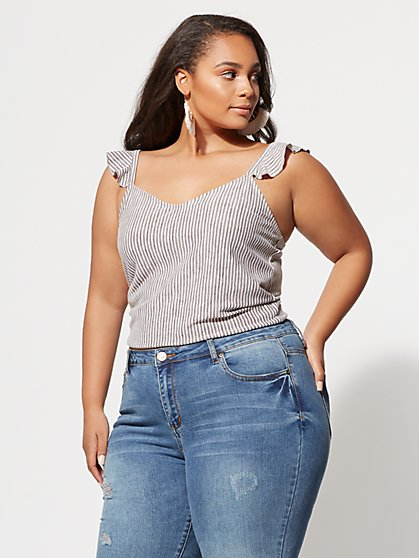 Plus Size Lea Flutter-Sleeve Crop Top - Fashion To Figure