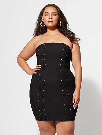Plus Size Lexi Lace-Up Bodycon Dress - Fashion To Figure