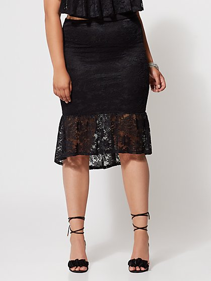 Plus Size Marie Lace Midi Skirt - Fashion To Figure