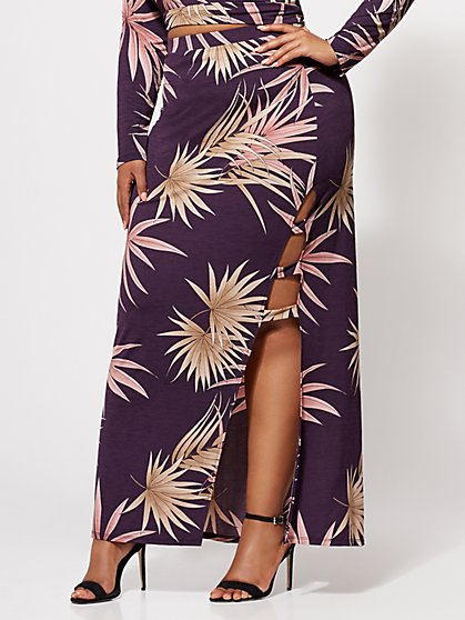 Plus Size Tatiana Palm Print Maxi Skirt - Fashion To Figure