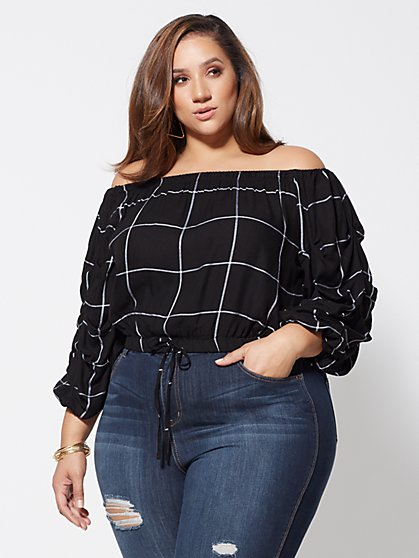 Plus Size Veronika Off-Shoulder Grid Top - Fashion To Figure