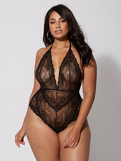 Plus Size Vivienne Lace Lingerie Bodysuit - Fashion To Figure