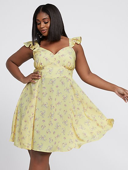 Plus Size Fabiana Sleeveless Floral Flare Dress - Fashion To Figure