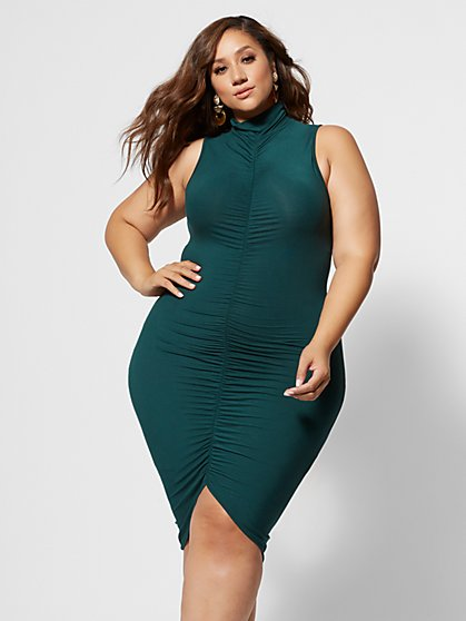 Plus Size Fabiola Mockneck Ruched Dress - Fashion To Figure