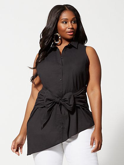 Plus Size Faina Tie Detail Button Blouse - Fashion To Figure