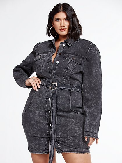 Plus Size Faith Belted Denim Shirt Dress with Puff Sleeves - Fashion To Figure