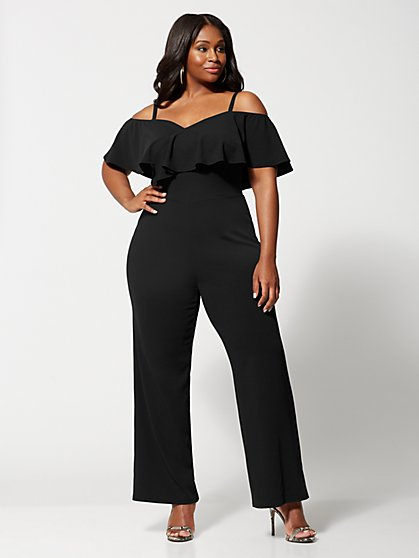Plus Size Fantasia Navy Ruffle Jumpsuit - Fashion To Figure