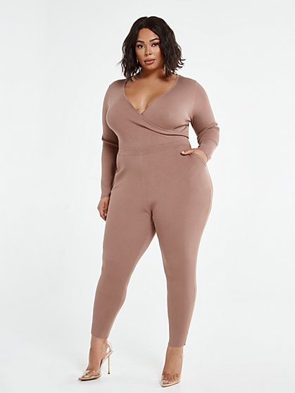 Plus Size Farah Faux-Wrap Sweater Jumpsuit - Fashion To Figure
