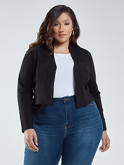 Plus Size Farrah Cropped Good Form Ponte Knit Blazer - Fashion To Figure