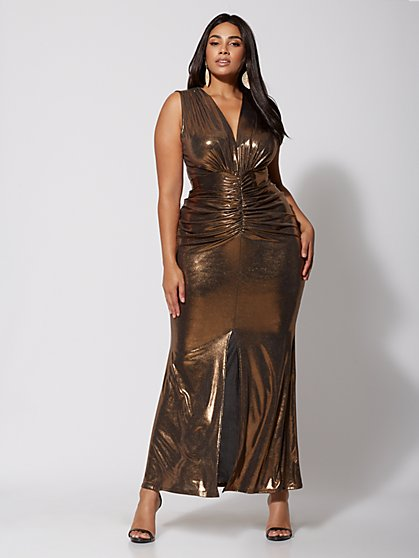 Plus Size Farrah Gold Ruched Maxi Dress - Fashion To Figure