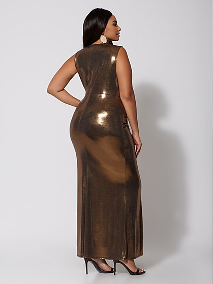 Plus Size Farrah Gold Ruched Maxi Dress Fashion To Figure