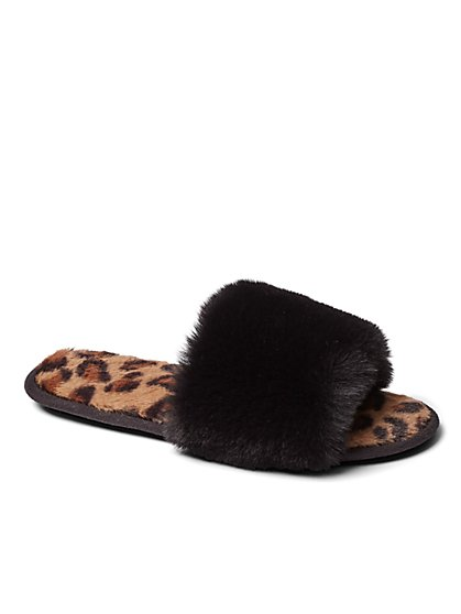Plus Size Faux-Fur Animal Print Sandal Slippers - Fashion To Figure