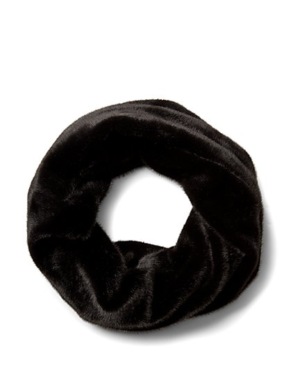 Plus Size Faux-Fur Black Infinity Scarf - Fashion To Figure