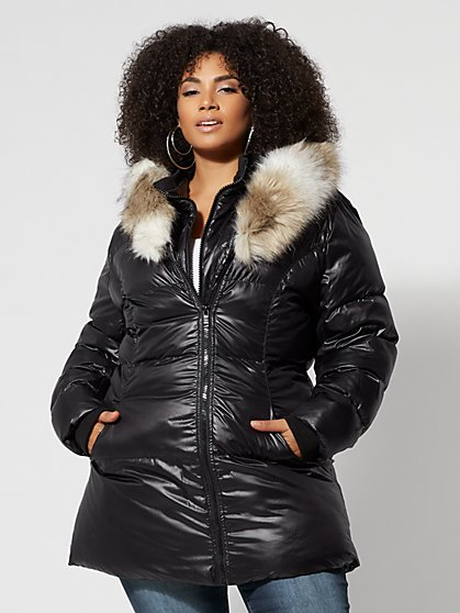 Plus Size Faux-Fur Hood Puffer Jacket - Fashion To Figure