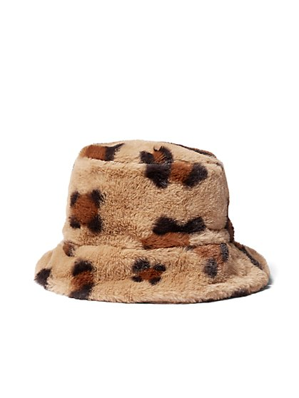 Plus Size Faux-Fur Leopard Bucket Hat - Fashion To Figure