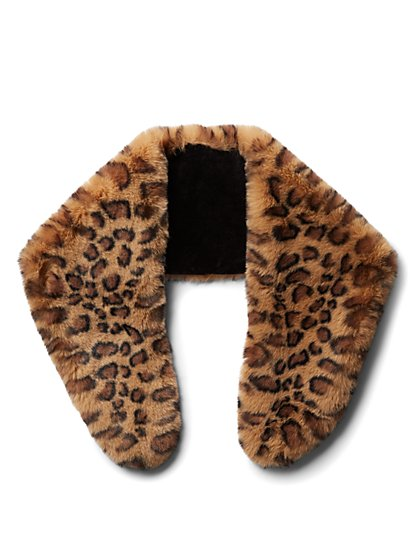 Plus Size Faux-Fur Leopard Scarf - Fashion To Figure