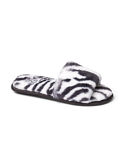 Plus Size Faux-Fur Zebra Print Sandal Slippers - Fashion To Figure