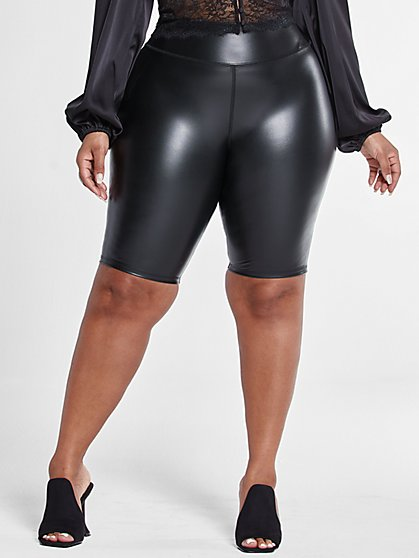 Plus Size Faux Leather Bike Shorts - Fashion To Figure