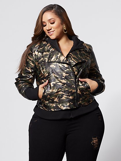 Plus Size Faux-Leather Camo Jacket - Fashion To Figure