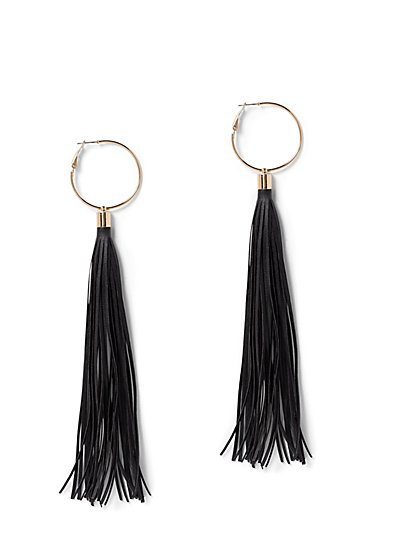 Plus Size Faux-Leather Fringe Hoop Earrings - Fashion To Figure