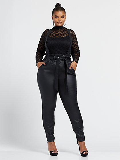 Plus Size Faux-Leather High-Rise Paper Bag Overall Skinny Jeans - Fashion To Figure