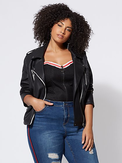 Plus Size Faux-Leather Moto Jacket - Fashion To Figure