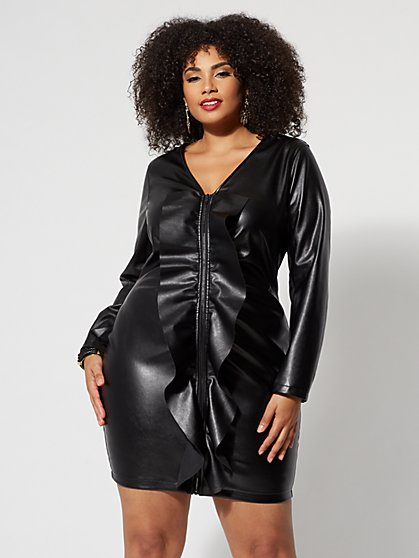 Plus Size Faux-Leather Ruffle Bodycon Dress - Fashion To Figure