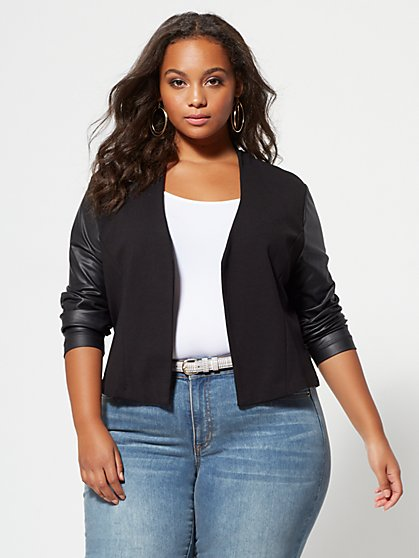Plus Size Faux-Leather Sleeve Good Form Ponte Blazer - Fashion To Figure