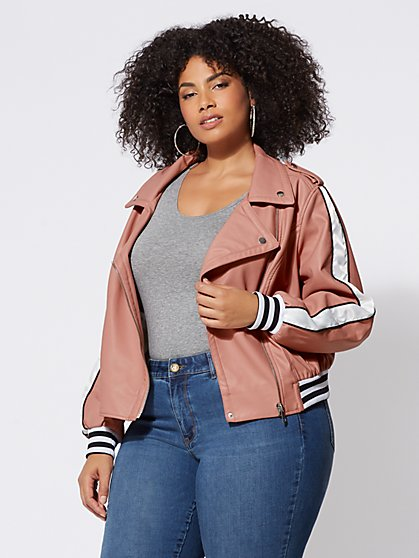 Plus Size Faux-Leather Varsity Jacket - Fashion To Figure