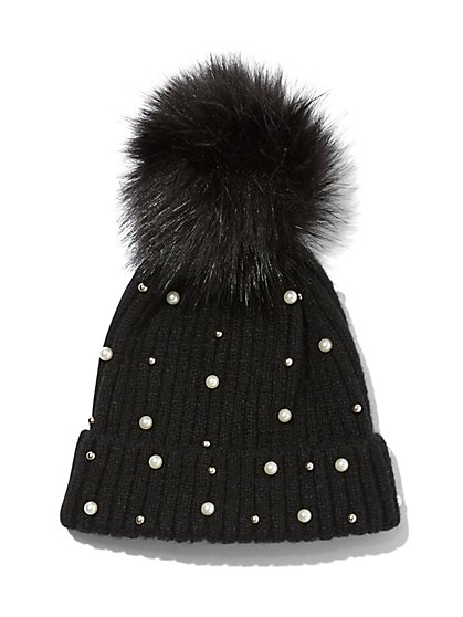 Plus Size Faux-Pearl Accented Beanie - Fashion To Figure