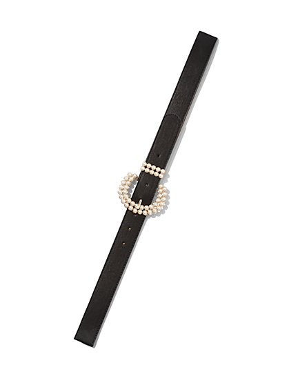 Plus Size Faux-Pearl Buckle Belt - Fashion To Figure