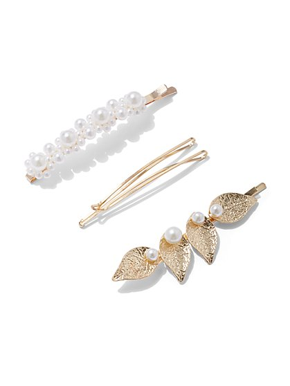 Plus Size Faux-Pearl Hair Pin Set of 3 - Fashion To Figure