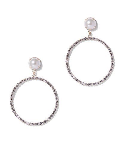 Plus Size Faux Pearl & Rhinestone Hoop Earrings - Fashion To Figure
