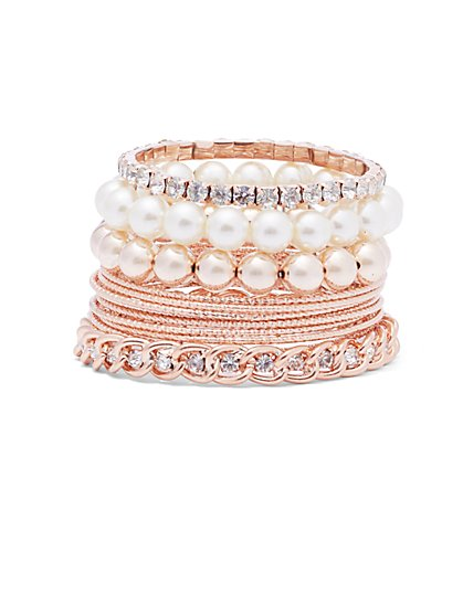 Plus Size Faux Pearl & Rose Gold Bracelet Set - Fashion To Figure