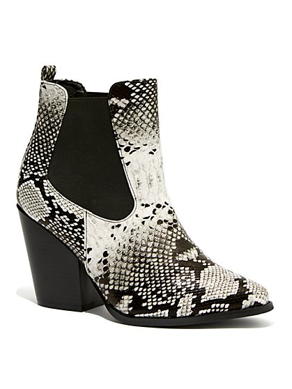 Plus Size Faux-Snake Pointed Toe Booties - Wide Width - Fashion To Figure
