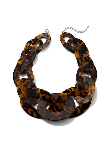 Plus Size Faux-Tortoise Chain Statement Necklace - Fashion To Figure