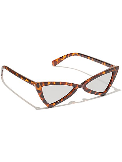 Plus Size Faux-Tortoise Triangle Sunglasses - Fashion To Figure