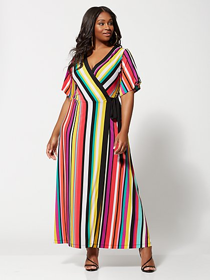 Plus Size Faylinn Stripe Wrap Maxi Dress - Fashion To Figure