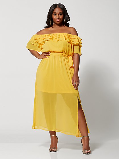 d8aea3e8d2b Plus Size Felicia Off Shoulder Ruffle Maxi Dress - Fashion To Figure ...