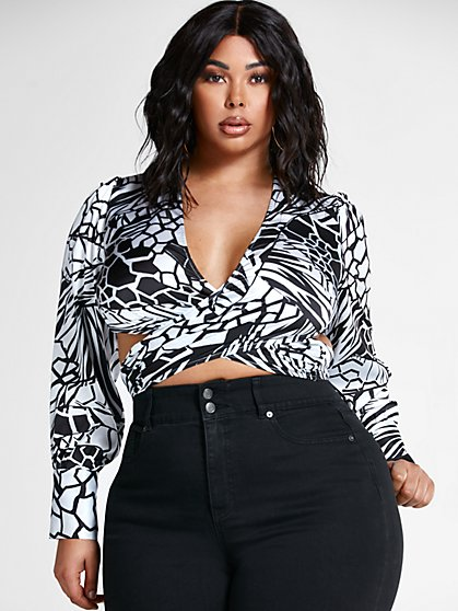 Plus Size Felicity Geo Print Wrap Blouse - Fashion To Figure