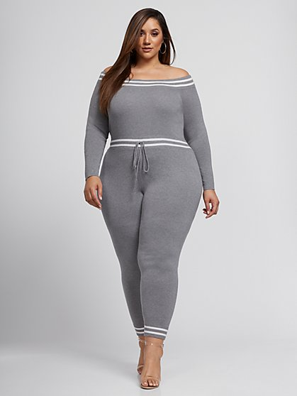 Plus Size Felicity Off Shoulder Sweater Jumpsuit - Fashion To Figure