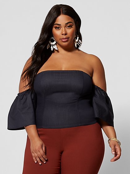Plus Size Fernanda Denim Off Shoulder Top - Fashion To Figure