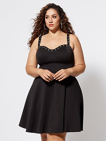 Plus Size Fernanda Studded Flare Dress - Fashion To Figure