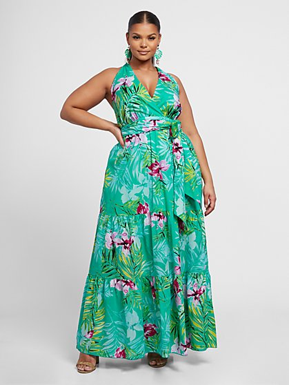 Plus Size Fiona Floral Hallter Maxi Dress - Fashion To Figure